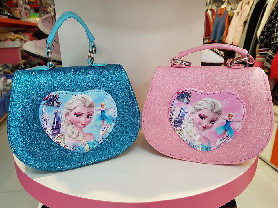 Túi đeo chéo công chúa elsa anna cho bé nhũ lấp lánh xinh đẹp