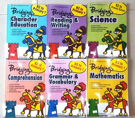Bridging K2 to Primary 1 bộ gồm 6 quyển sách học tiếng Anh singapre: Character Education, Reading&writing, Grammar & Vocabulary, Comprehension, Mathmatics, Science