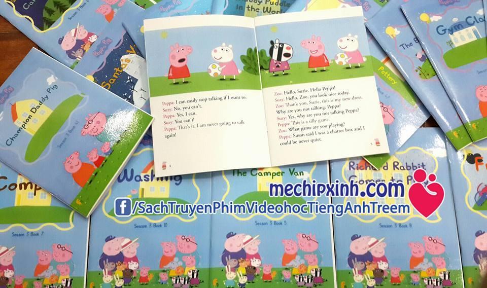 Sách truyện tiếng Anh Peppa Pig in mầu có file nghe audio, phim video đủ 4 season