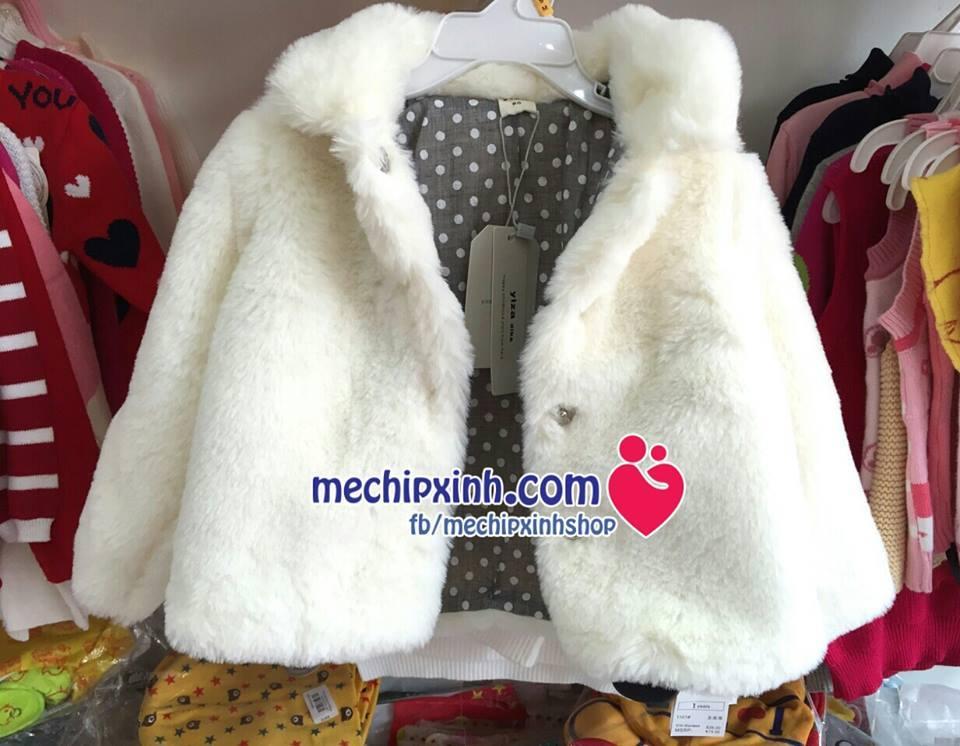 Áo khoác lông bé gái dầy ấm mùa đông