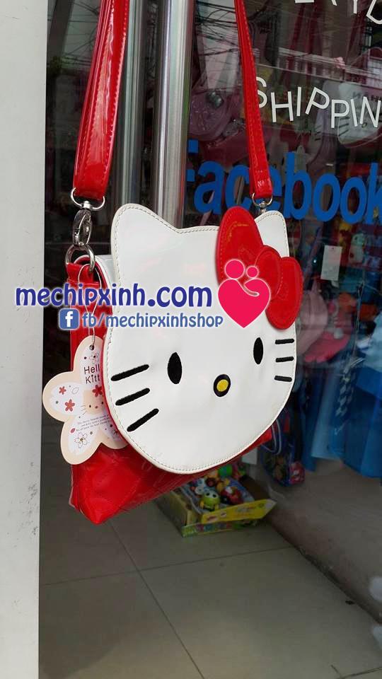 Túi đeo chéo Kitty da bóng đỏ kích thước 20cm * 24cm