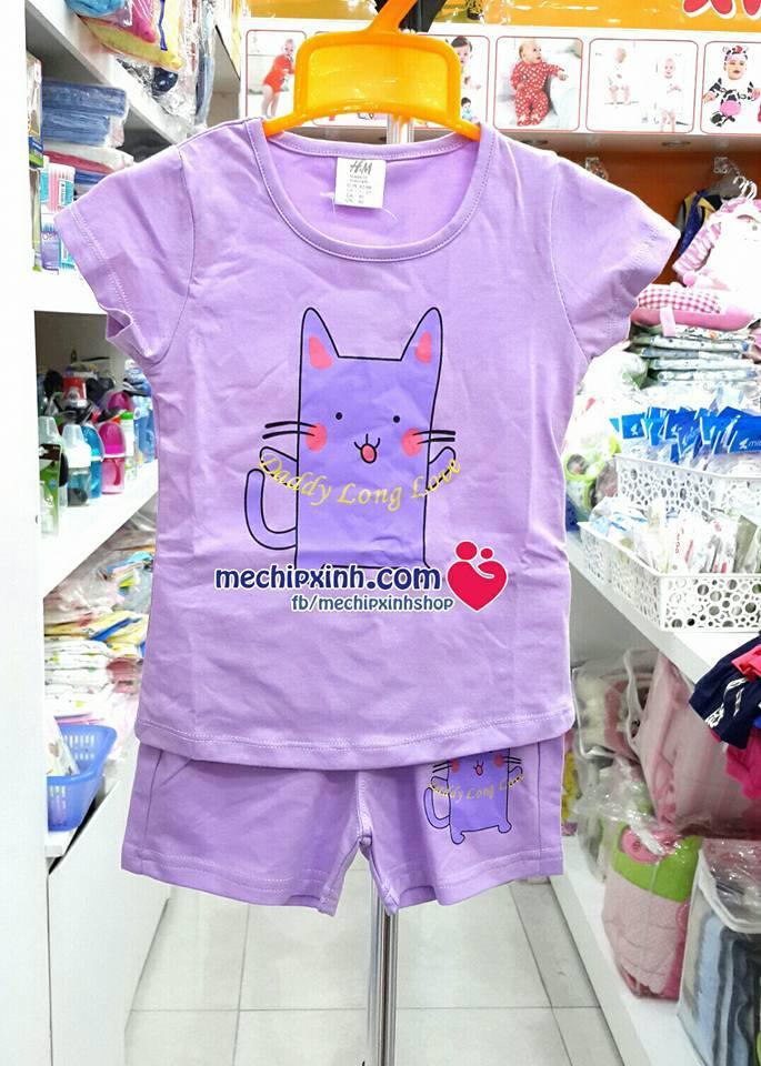 Size 1 tuổi đến 5 tuổi Bộ thun cotton cộc tay quần đùi hè HM bé gái made in vietnam
