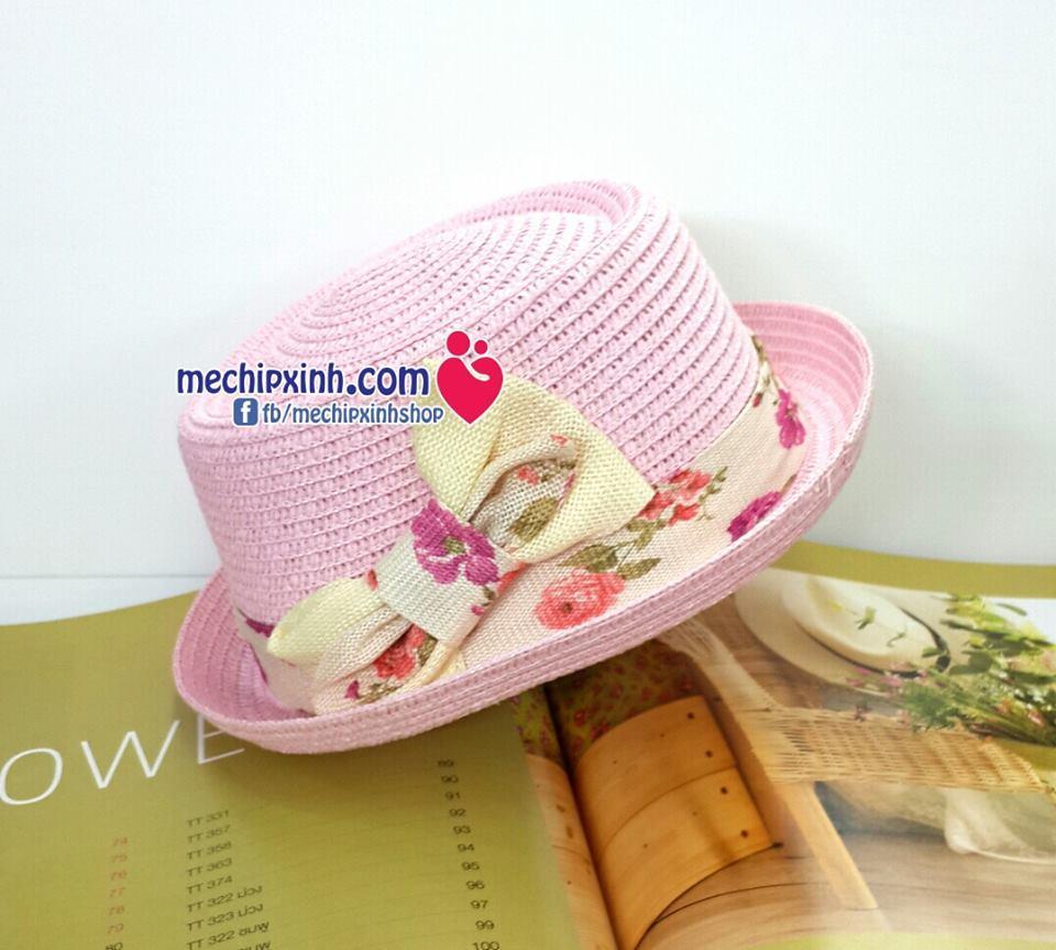 Mũ cói hè bé gái đi chơi đi bơi đi biển vành vải hoa nơ