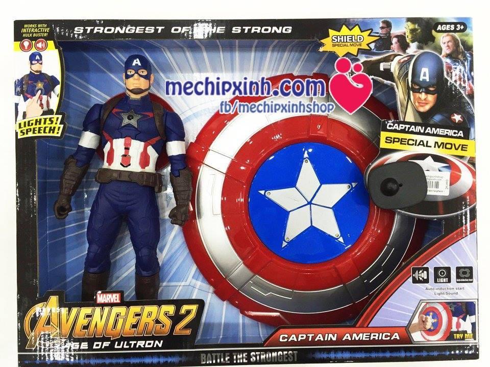 Bộ hộp mô hình và khiên của đội trưởng Mỹ Captain American đồ chơi bé trai