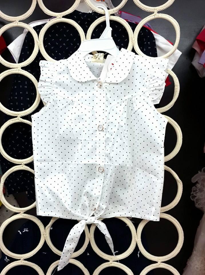 size 3- 8 tuổi áo trắng chấm bi buộc dây