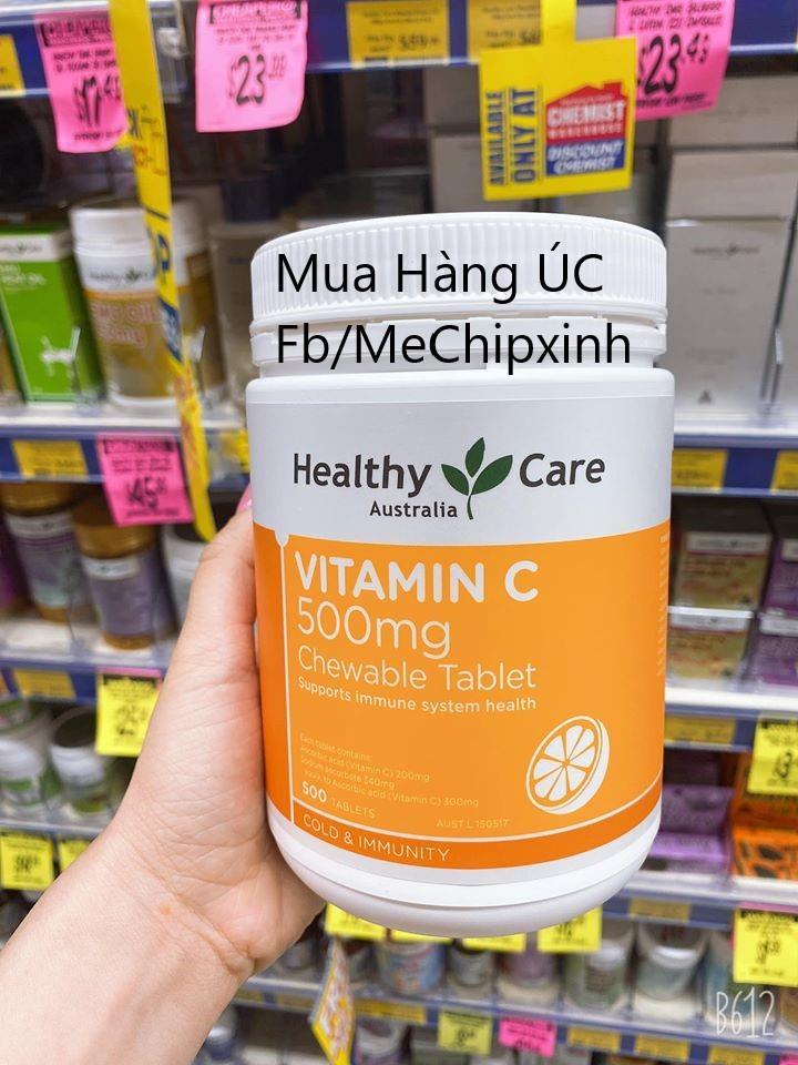 Viên nhai bổ sung Vitamin C hãng Healthy Care mẫu mới nhất