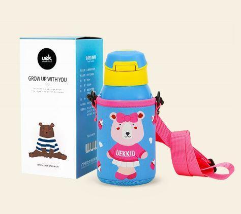 Bình nước giữ nhiệt hãng uek cho trẻ đi học đi chơi đi du lịch hình gấu hồng
