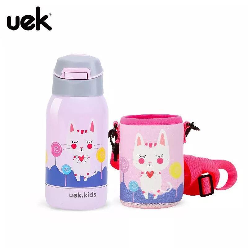 Bình nước giữ nhiệt hãng uek cho trẻ đi học đi chơi đi du lịch hình mèo hồng