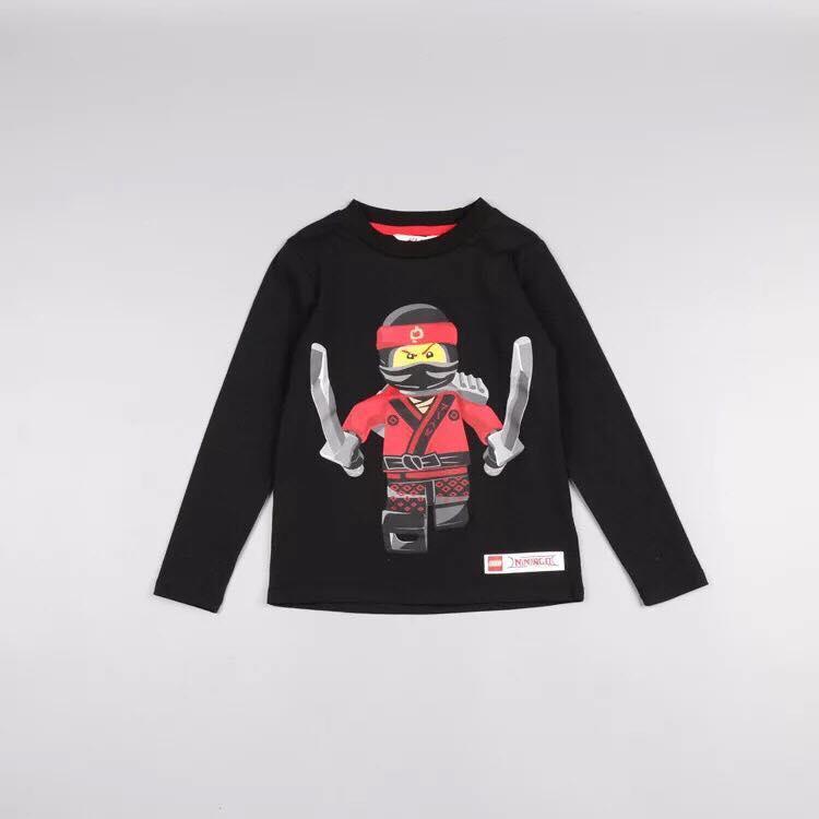 Áo phông thun dài tay HM cho bé trai thu đông hình Ninja Go