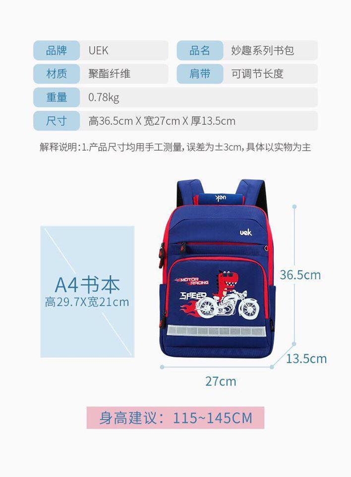 Ba lô Cặp chống gù lưng Uek chính hãng cho học sinh tiểu học và cấp 2 - ảnh chụp thật sản phẩm