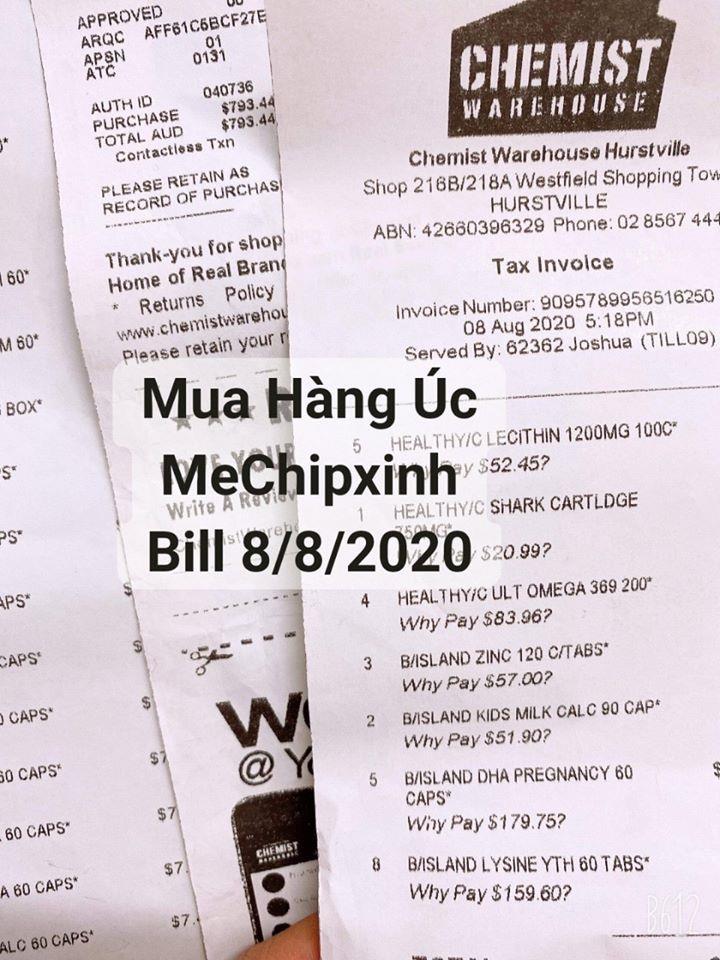 Bill Hóa đơn Mua Hàng Úc Shop MeChipxinh ngày 8/8/2020