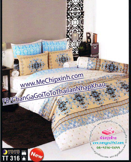 TT316 size giường 1m6 x 2m chăn ga gối ToTo Thái lan nhập khẩu set ga + 2 vỏ gối nằm