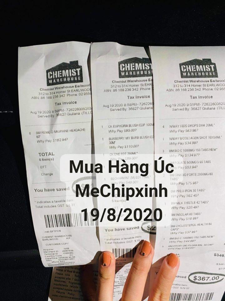 Hóa đơn Mua Hàng Úc Shop MeChipxinh ngày 19/8/2020