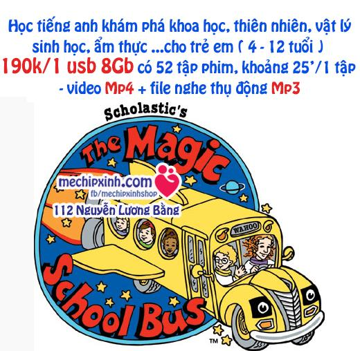 1 usb 8Gb đủ 52 tập phim Magic School Bus học tiếng Anh cho trẻ từ 2 đến 12 tuổi