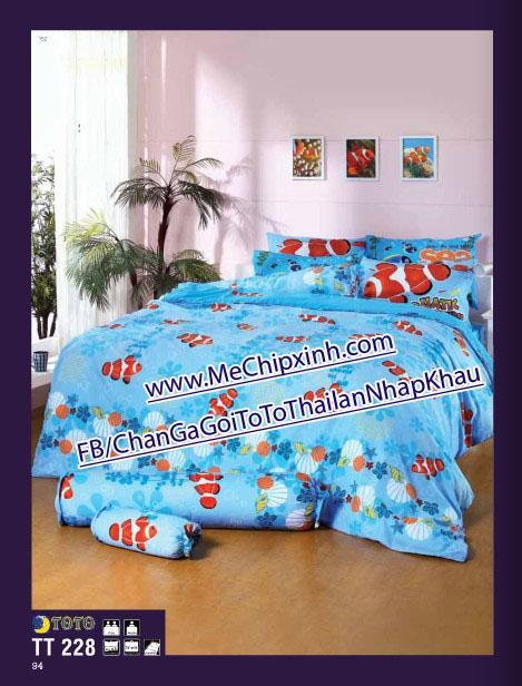 TT228 size giường 1m8 x 2m chăn ga gối ToTo Thái lan nhập khẩu set ga + 2 vỏ gối nằm