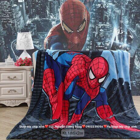 1m5x2m Chăn băng lông người nhện spider man cho trẻ em